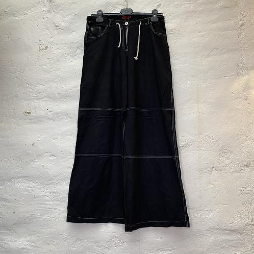 Pantalon large en toile noir, années 2000, TM, Emonita