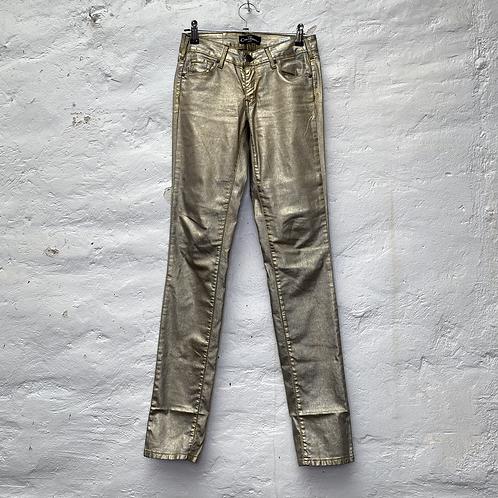 Pantalon skinny ciré mordoré, années 2000, TS, Cimarron