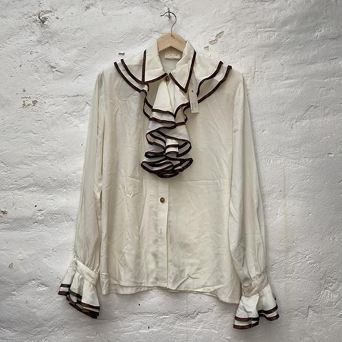 Chemise col à volant blanche, années 70, TM