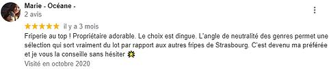 Avis Google de Marie-Océane