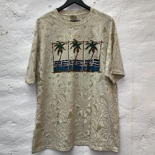 T-shirt oversize beige avec dessin palmiers, TXL, Jerzees