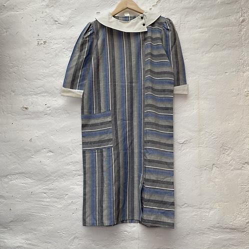 Robe mi longue à rayures bleu et gris, années 70, TM-L