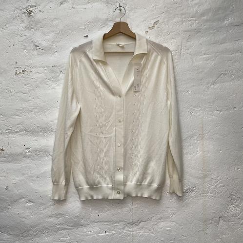 Gilet blanc motif géométrique, années 70-80, TM