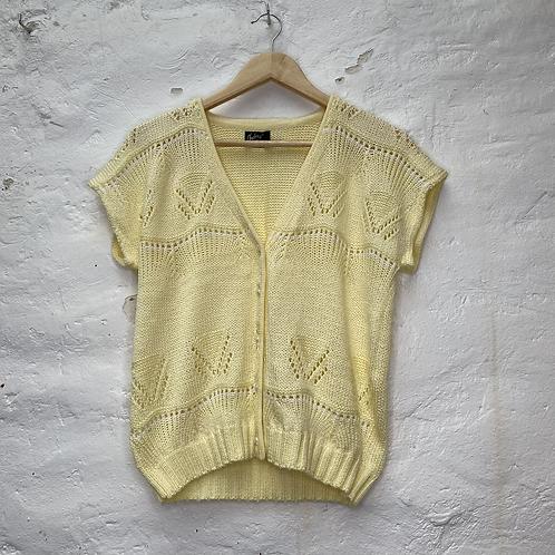 Gilet sans manche jaune pastel avec détails ajourés, années 70, TS-M, Chacha