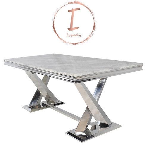 Mayfair 180cm Marble Dining Table-Chrome X legs