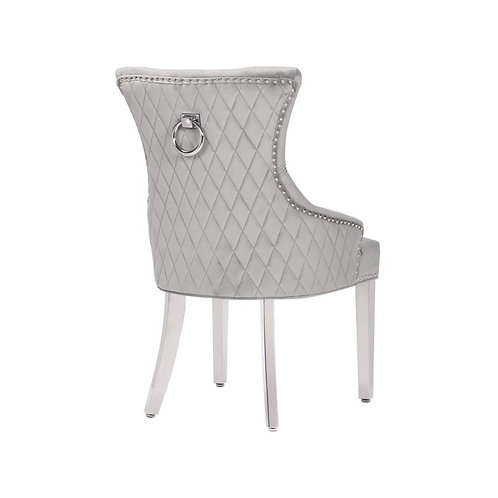 Mayfair Pull Ring Dining Chairs-Light Grey
