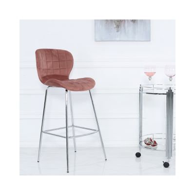 Rose Pink Curve Bar Stool-Set of Two