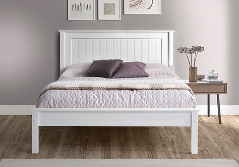 Tarus White Wooden Bed Frame- Low Foot End