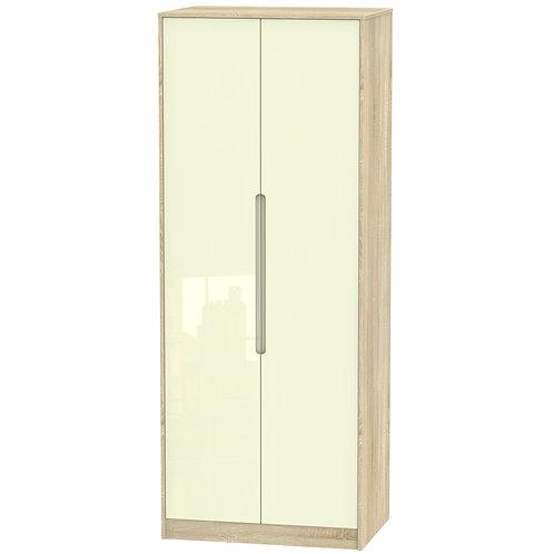 Monaco 2 Door Double Hanging Wardrobe- Cream Gloss