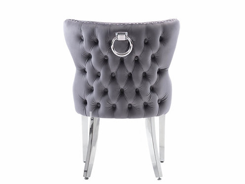 Chesterfield Pull Ring back Dining Chair-Dark Grey