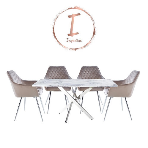 The Nova 160 cm Table and 4 Quinn dining chairs