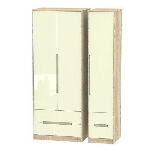 Monaco3 Door, 3 Drawer Wardrobe-Cream Gloss