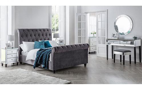Valentino Fabric Bed Frame-Dark Grey Velvet