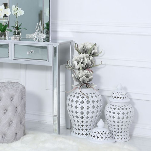 Set of Two White Ceramic Ginger Jar