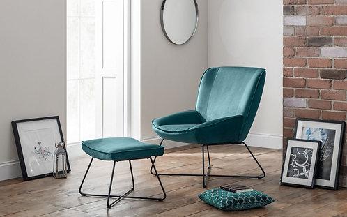 Mila Chair & Stool- Teal Velvet