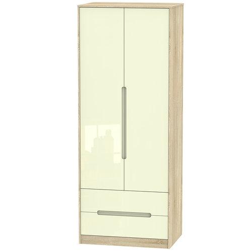 Monaco 2 Door, 2 Drawer Wardrobe- Cream Gloss