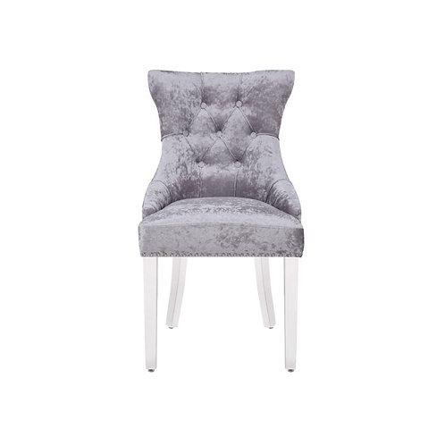 Mayfair Pull Back Ring Dining Chairs-Silver Velvet
