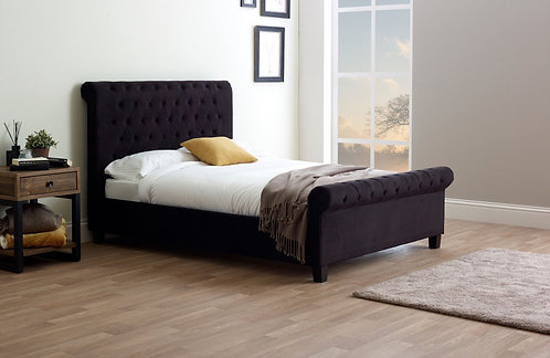 Orbit Fabric Bed Frame- Black Velvet
