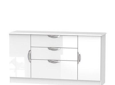 Camden 2 Door/3 Drawer Wide Unit-White Gloss