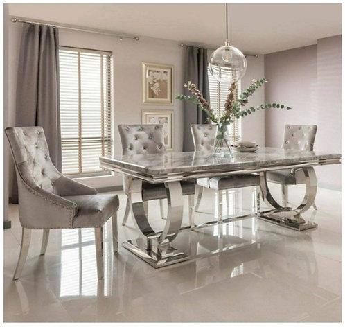 Ariana 180cm Grey Marble Dining Table + Mayfair Silver Velvet Chairs