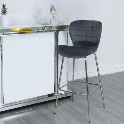 Grey curve bar stools-Set of Two