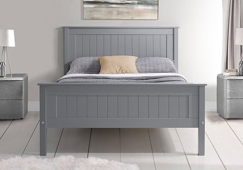 Tarus Grey Wooden Bed Frame- High Foot End