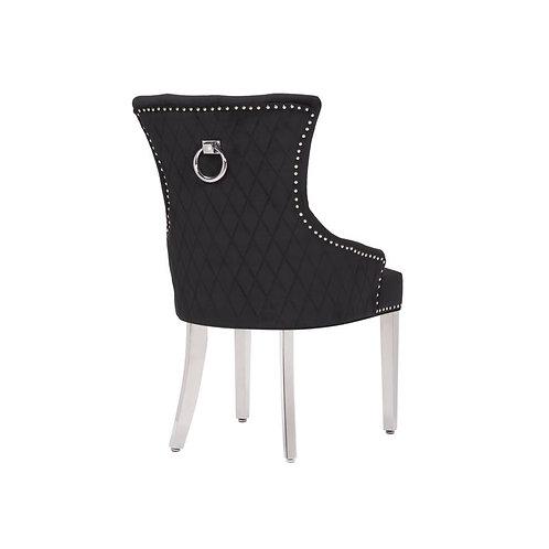 Mayfair Pull back Ring Dining Chairs-Black Velvet