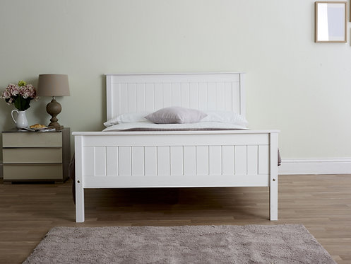 Tarus White Wooden Bed Frame- High Foot End