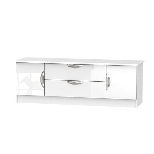 Camden 2 Door/2 Drawer Wide TV Unit-White Gloss