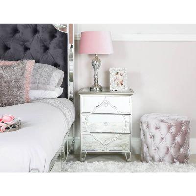 Marrakech Silver Mirror 3 Drawer Bedside Cabinet