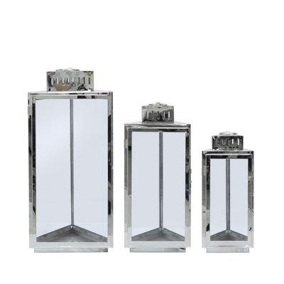 Set of 3 Stainless Steel Prism Lanterns