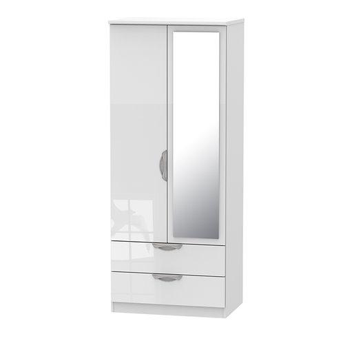 Camden 2 Door-2 Drawer Mirror Wardrobe