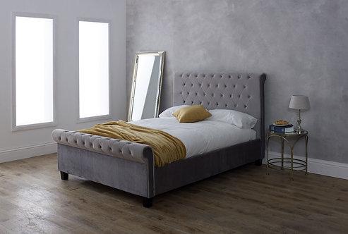 Orbit Fabric Bed Frame- Silver Velvet
