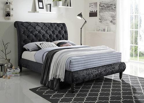 Venice Bed Frame-Black Crushed Velvet