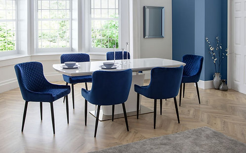 Como Dining Table & 6 Luxe Blue Dining Chairs