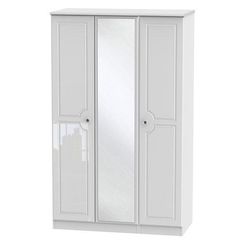 Balmoral 3 Door Mirror Wardrobe- White Gloss