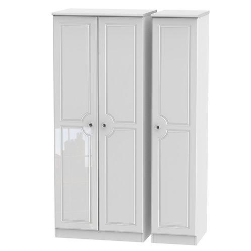 Balmoral Tall 3 Door Wardrobe- White Gloss