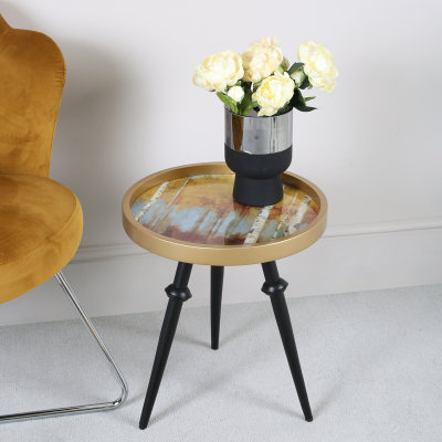 45 cm Mustard Yellow & Gold Abstract Wood End Table