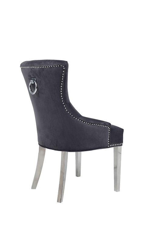 Mayfair Pull Ring Dining Chairs-Dark Grey Velvet