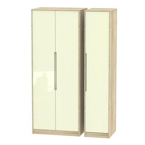 Monaco 3 Door Wardrobe- Cream Gloss