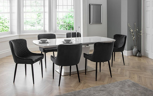 Como Dining Table & 6 Luxe GreyDining Chairs