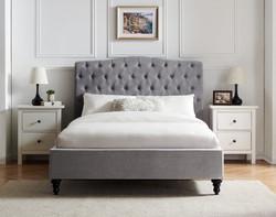 Rosa light grey bed frame
