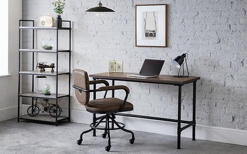 Carnegie Pipe Desk-Elm & Saturn Black