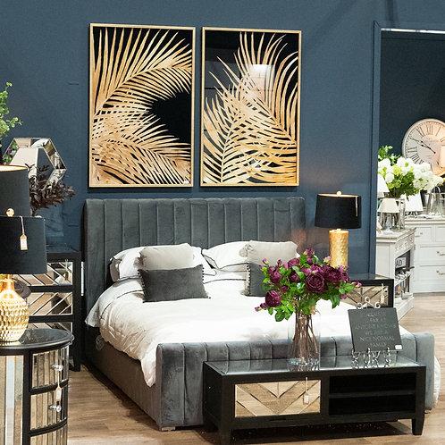 Emperor Grey Velvet Bed Frame- King Size