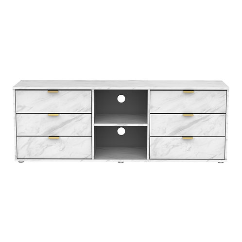 Hong Kong marble-6 Drawer TV Unit on Low Glides