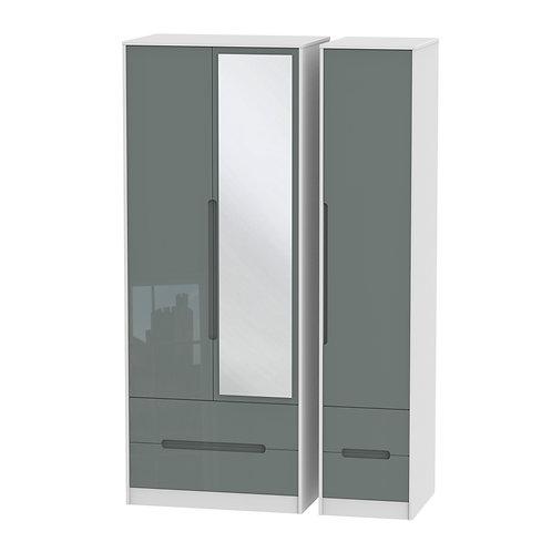 Monaco 3 Door, 3 Drawer Mirrored Wardrobe