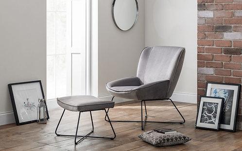 Mila Chair and Stool- Grey Velvet