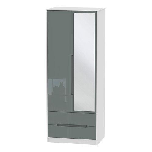 Monaco 2 Door, 2 Drawer Mirrored Wardrobe