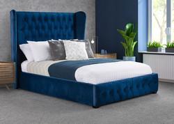 Renoir Bed Frame - Blue Plush Fabric