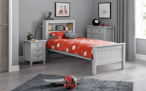 Maine Bookcase Single Bed Frame - Dove Grey